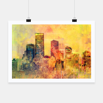 Thumbnail image of Abstract City Scape Digital Art Poster, Live Heroes