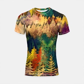 Thumbnail image of Abstract Mountain Landscape  and forest Digital Art Shortsleeve rashguard, Live Heroes