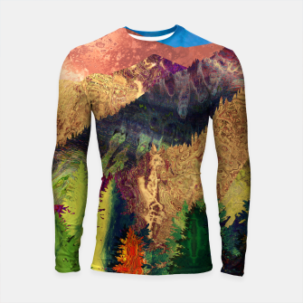 Thumbnail image of Abstract Mountain Landscape  and forest Digital Art Longsleeve rashguard , Live Heroes