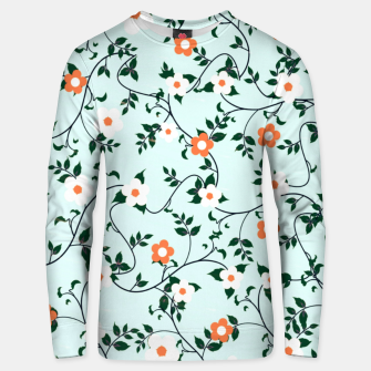 Thumbnail image of White and orange flowers Cotton sweater, Live Heroes
