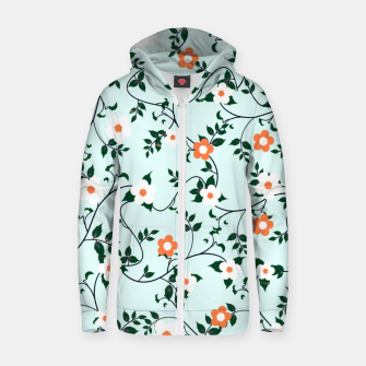 Thumbnail image of White and orange flowers Cotton zip up hoodie, Live Heroes
