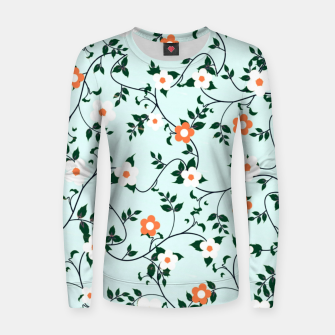 Thumbnail image of White and orange flowers Woman cotton sweater, Live Heroes