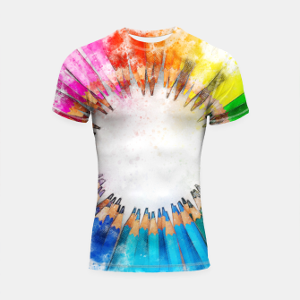 Thumbnail image of Pencil Circle Rainbow Art Design Shortsleeve rashguard, Live Heroes