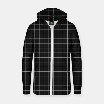 Black and white plaid Cotton zip up hoodie obraz miniatury