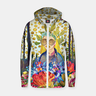 Thumbnail image of Floral forest Cotton zip up hoodie, Live Heroes