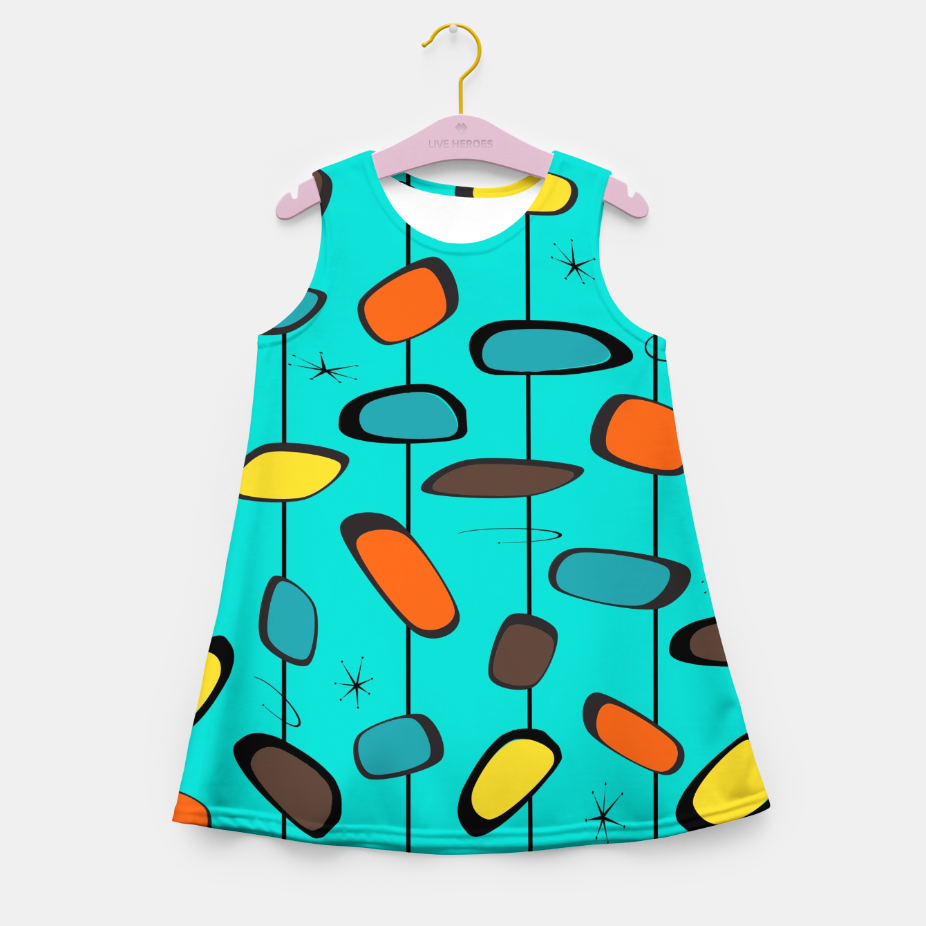 Image of Mid Century Modern Groovy  Girl's summer dress - Live Heroes