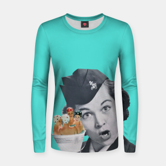 Imagen en miniatura de Vintage Flight Attended with a Cup of Swimmers Woman cotton sweater, Live Heroes