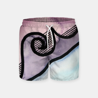 Thumbnail image of Sharp 80s watercolor Swim Shorts, Live Heroes
