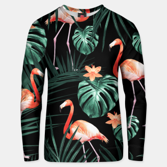 Thumbnail image of Tropical Flamingo Floral Night Pattern #1 #tropical #decor #art  Baumwoll sweatshirt, Live Heroes