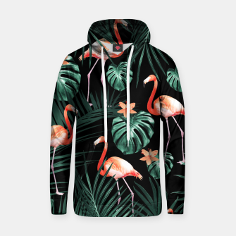 Thumbnail image of Tropical Flamingo Floral Night Pattern #1 #tropical #decor #art  Baumwoll Kapuzenpullover, Live Heroes