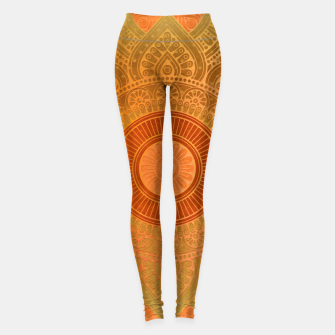 "Imagen en miniatura de ""Savanna Orange-Gold Mandala"" Leggings, Live Heroes"