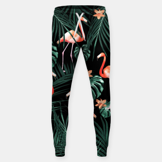 Thumbnail image of Tropical Flamingo Floral Night Pattern #1 #tropical #decor #art  Baumwoll hosen, Live Heroes