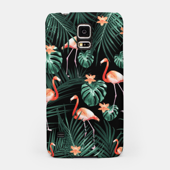 Thumbnail image of Tropical Flamingo Floral Night Pattern #1 #tropical #decor #art  Handyhülle für Samsung, Live Heroes