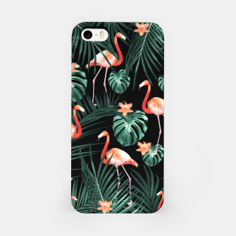 Thumbnail image of Tropical Flamingo Floral Night Pattern #1 #tropical #decor #art  iPhone-Hülle, Live Heroes