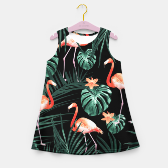 Thumbnail image of Tropical Flamingo Floral Night Pattern #1 #tropical #decor #art  Mädchen-Sommerkleid, Live Heroes