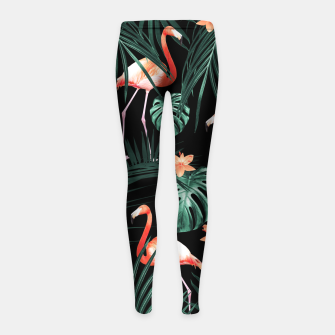 Thumbnail image of Tropical Flamingo Floral Night Pattern #1 #tropical #decor #art  Kinder-Leggins, Live Heroes
