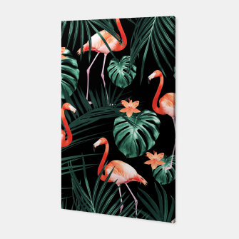 Thumbnail image of Tropical Flamingo Floral Night Pattern #1 #tropical #decor #art  Canvas, Live Heroes