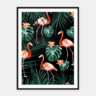 Thumbnail image of Tropical Flamingo Floral Night Pattern #1 #tropical #decor #art  Plakat mit rahmen, Live Heroes