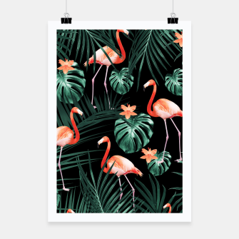 Thumbnail image of Tropical Flamingo Floral Night Pattern #1 #tropical #decor #art  Plakat, Live Heroes