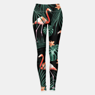 Thumbnail image of Tropical Flamingo Floral Night Pattern #1 #tropical #decor #art  Leggings, Live Heroes