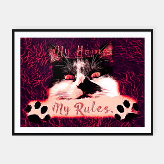 Miniature de image de gxp cat katze my home my rules vector art pure rot red Plakat mit rahmen, Live Heroes