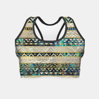 Miniaturka Tribal Ethnic  Pattern Gold on Abalone Shell and Pearl Crop Top, Live Heroes
