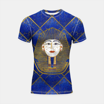 Thumbnail image of Marble & Gold pharaoh on Lapis Lazuli Shortsleeve rashguard, Live Heroes