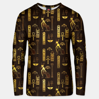 Miniatur Egyptian Decorative Pattern gold on brown Cotton sweater, Live Heroes