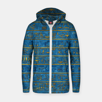 Golden Embossed Egyptian hieroglyphs on blue Cotton zip up hoodie thumbnail image