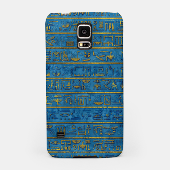 Golden Embossed Egyptian hieroglyphs on blue Samsung Case thumbnail image