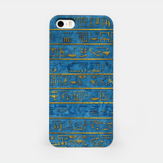 Golden Embossed Egyptian hieroglyphs on blue iPhone Case thumbnail image