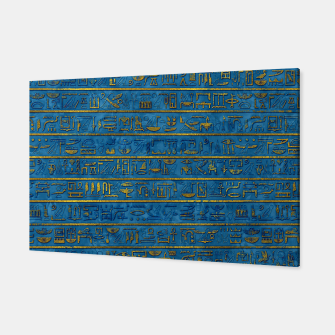 Golden Embossed Egyptian hieroglyphs on blue Canvas thumbnail image