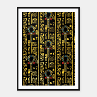 Thumbnail image of Ankh  and Egyptian hieroglyphs pattern Framed poster, Live Heroes