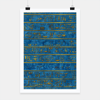 Thumbnail image of Golden Embossed Egyptian hieroglyphs on blue Poster, Live Heroes