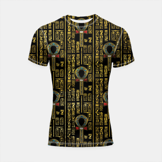 Thumbnail image of Ankh  and Egyptian hieroglyphs pattern Shortsleeve rashguard, Live Heroes