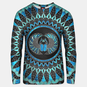 Miniatur Egyptian Scarab Beetle - SIlver and Blue glass Cotton sweater, Live Heroes