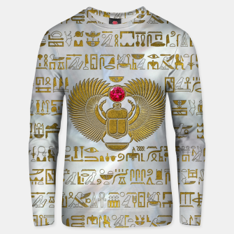 Thumbnail image of Egyptian Scarab Beetle Gold and Ruby Stone Cotton sweater, Live Heroes
