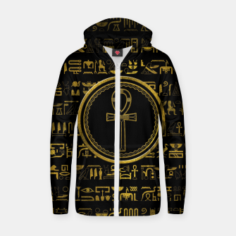 Thumbnail image of Gold Egyptian Ankh Cross symbol Cotton zip up hoodie, Live Heroes