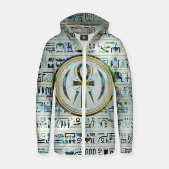 Thumbnail image of Abalone Shell Egyptian Ankh Cross symbol Cotton zip up hoodie, Live Heroes