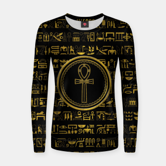 Thumbnail image of Gold Egyptian Ankh Cross symbol Woman cotton sweater, Live Heroes