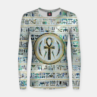 Thumbnail image of Abalone Shell Egyptian Ankh Cross symbol Woman cotton sweater, Live Heroes