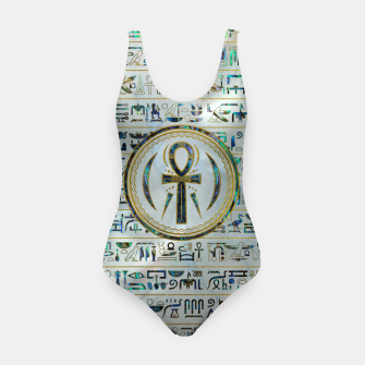 Thumbnail image of Abalone Shell Egyptian Ankh Cross symbol Swimsuit, Live Heroes
