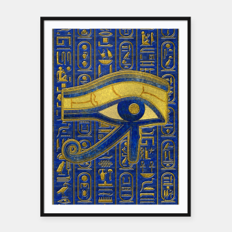 Thumbnail image of Gold Egyptian Eye of Horus - Wadjet Lapis Lazuli Framed poster, Live Heroes