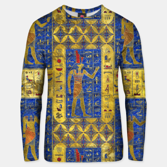 Thumbnail image of Egyptian  Gold  symbols on Lapis Lazuli Cotton sweater, Live Heroes