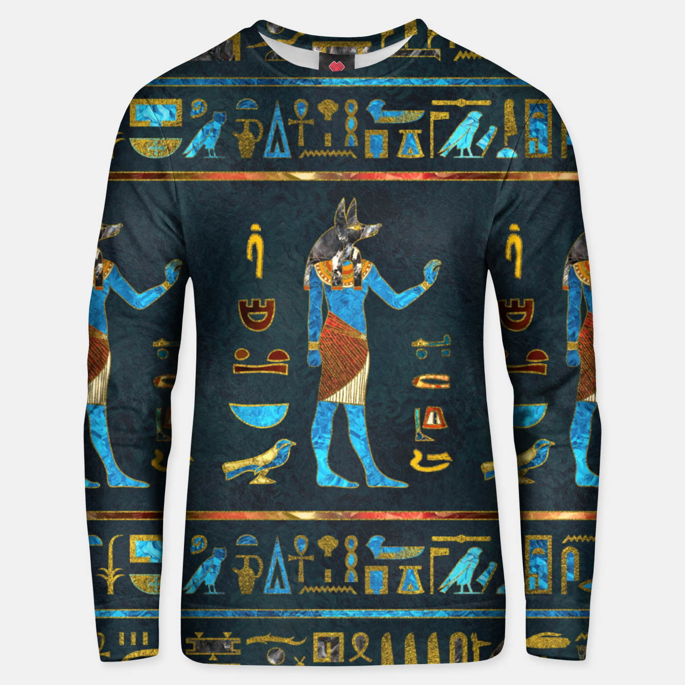 Image of Anubis Egyptian Gold, Blue and Red glass Cotton sweater - Live Heroes