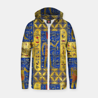 Thumbnail image of Egyptian  Gold  symbols on Lapis Lazuli Cotton zip up hoodie, Live Heroes