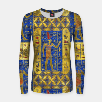 Thumbnail image of Egyptian  Gold  symbols on Lapis Lazuli Woman cotton sweater, Live Heroes