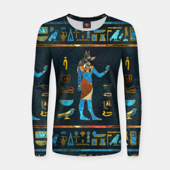 Anubis Egyptian Gold, Blue and Red glass Woman cotton sweater thumbnail image