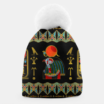 Thumbnail image of Colorful Egyptian Horus Ornament on Black Glass Beanie, Live Heroes