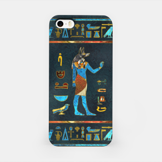 Anubis Egyptian Gold, Blue and Red glass iPhone Case thumbnail image
